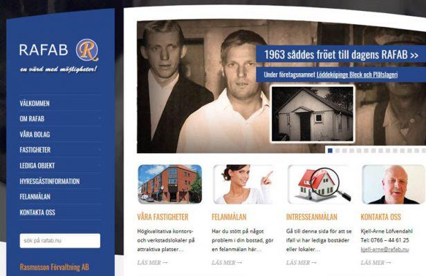 Webbsida för RAFAB - Rasmusson Förvaltning AB
